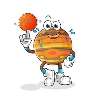 Júpiter jogando ilustração de basquete