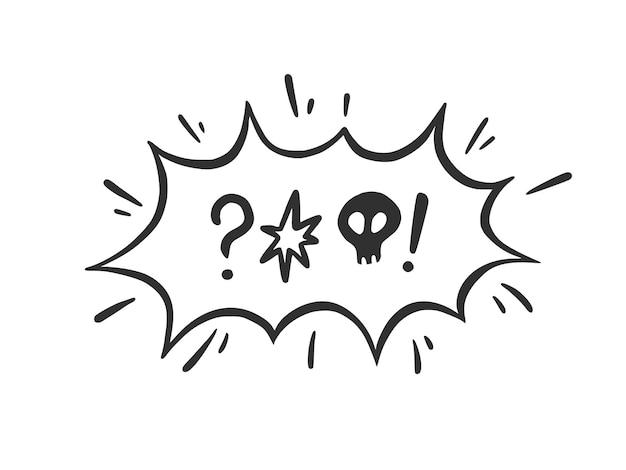 Jura palavra bolha do discurso. amaldiçoar, rude, palavrão para expressão de raiva, má e negativa. estilo de esboço do doodle desenhado de mão. ilustração vetorial isolada no fundo branco.
