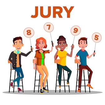 Júri de personagens com placas de sinais mostrar pontuação
