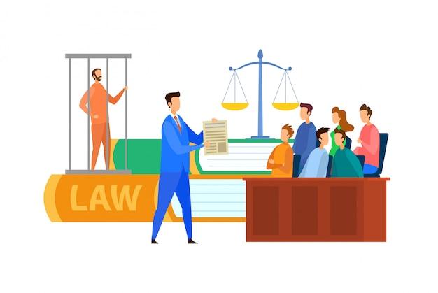 Jury trial process cartoon ilustração vetor