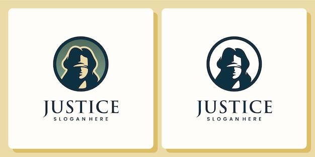 Justiça, mulher cega, silhueta, design de logotipo e cartão de visita