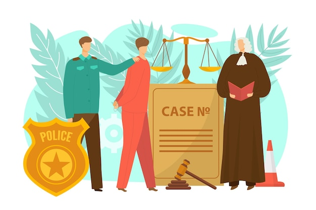 Justiça, por lei, conceito, vetorial, ilustração, policial, pessoa, personagem, conduzir, criminoso, homem ...