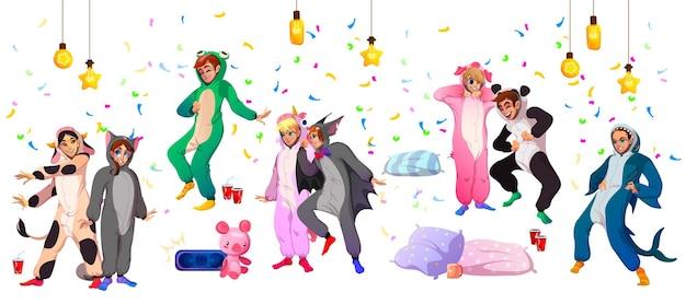 Juventude da festa do pijama kigurumi em fantasias de animais