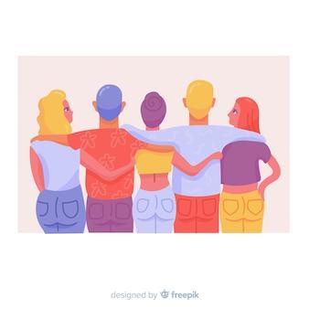 Juventude pessoas abraçando juntos fundo