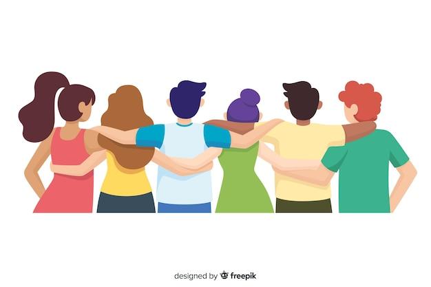 Juventude plana pessoas abraçando juntos