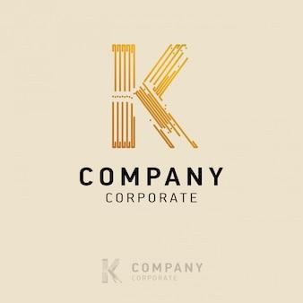 K design de logotipo da empresa com vetor de cartão de visita