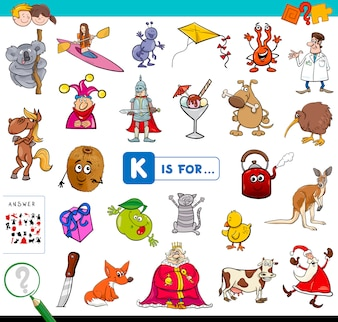K é para jogo educativo para crianças