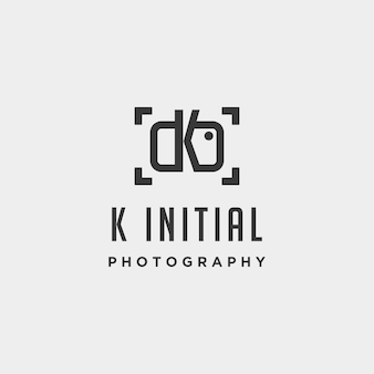 K elemento de ícone de design de vetor de modelo de logotipo de fotografia inicial