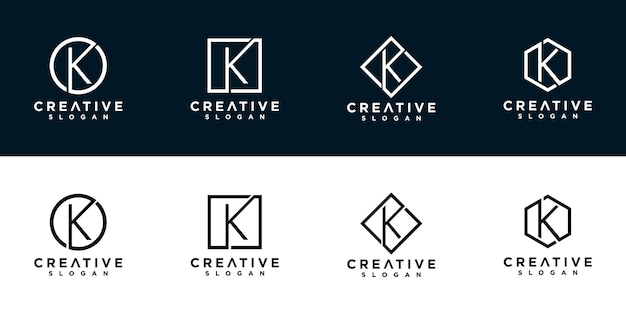 K iniciais do modelo de design de logotipo