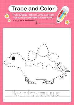 K palavra de rastreamento para dinossauros e planilha de rastreamento de cores com a palavra kentrosaurus