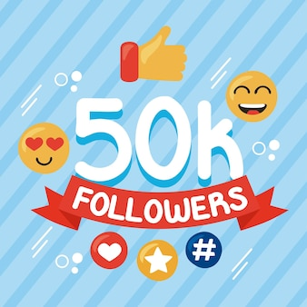 K seguidores e ícones de mídia social