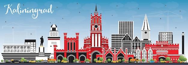 Kaliningrado rússia city skyline com edifícios de cor e céu azul. ilustração vetorial. viagem de negócios e conceito de turismo com arquitetura histórica. kaliningrado, paisagem urbana com pontos turísticos.
