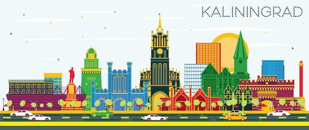 Kaliningrado rússia city skyline com edifícios de cor e céu azul. ilustração