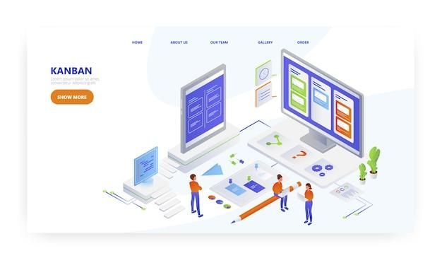Kanban, design da página de destino, modelo de vetor de banner de site. quadro de tarefas scrum, desenvolvimento ágil de software.