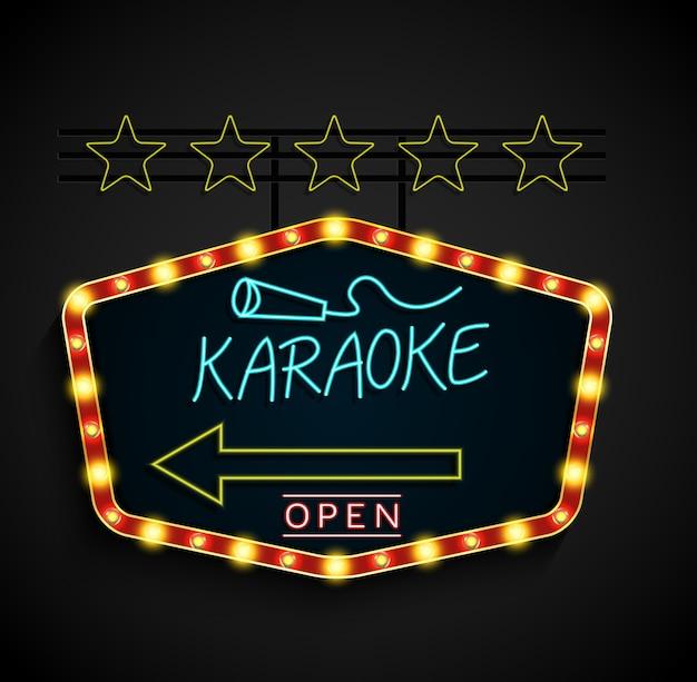 Karaoke de bandeira luz retrô brilhante sobre um fundo preto