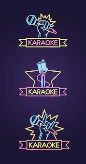 Karaoke diferentes no estilo neon com microfone sobre roxo