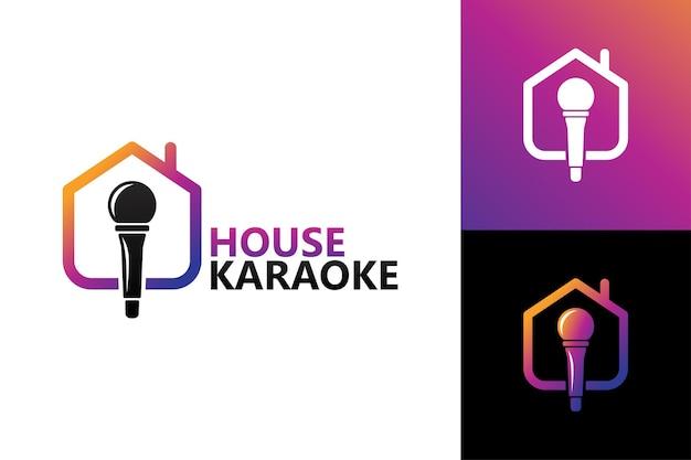 Karaokê doméstico, modelo de logotipo de casa e microfone vetor premium