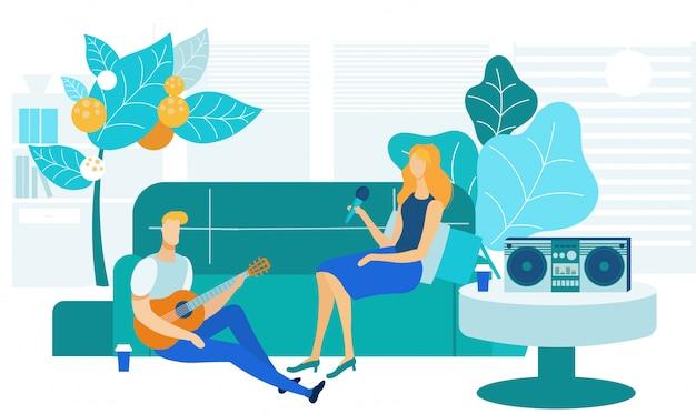 Karaoke em casa, ilustração vetorial de entretenimento