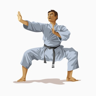 Karatê quimono branco com faixa preta em pé e praticando no ringue, campeão mundial. ilustração em vetor conceito treinamento de caratê. kungfu, ninja, lutador.