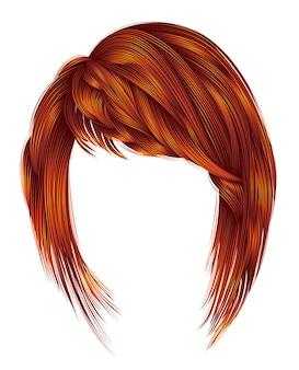 Kare de cabelos de mulher na moda com franja. cores de gengibre ruivo ruivo vermelho. comprimento médio .. 3d realista.