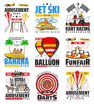 Kart racing, dardos e banana passeios parque de diversões Vetor Premium