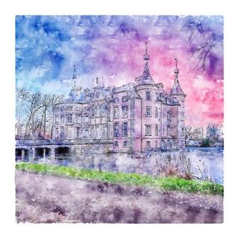 Kasteel van poeke bélgica esboço em aquarela ilustrações desenhadas à mão
