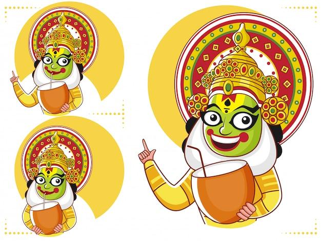 Kathakali dancer segurando a bebida de coco em três opções.