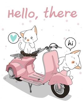 Kawaii 2 gato branco com motocicleta