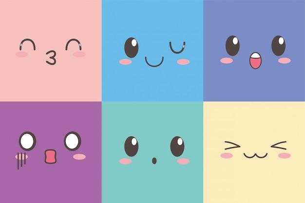 Kawaii adorável expressão facial emoticon conjunto de caracteres dos desenhos animados