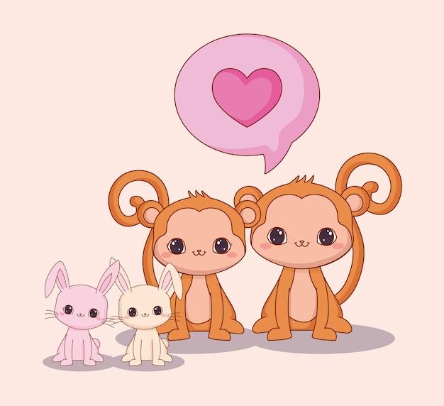 Kawaii animais e design de amor