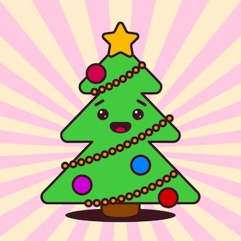 Kawaii árvore de natal com cara sorridente
