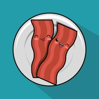 Kawaii bacon plate ícone de café da manhã