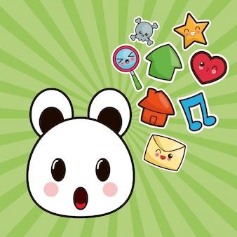 Kawaii bear character social media image