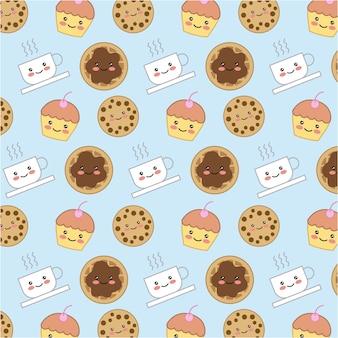 Kawaii bolinho doce bolo pão xícara de café fundo