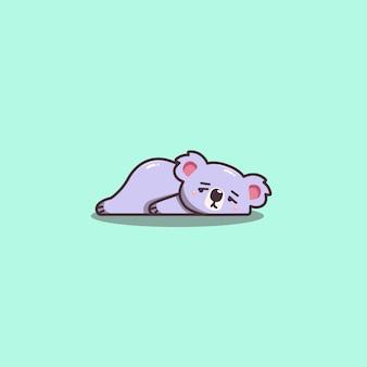 Kawaii bonito mão desenhada doddle preguiçoso e entediado mascote koala.