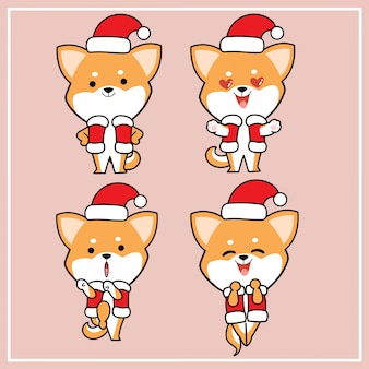 Kawaii bonito mão desenhada shiba inu cachorro personagem com coleção de chapéu de natal