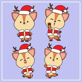 Kawaii bonito mão desenhada veado personagem com coleção de chapéu de natal