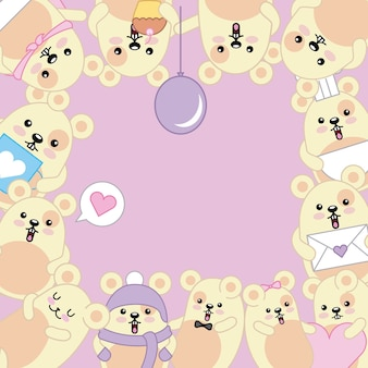Kawaii bonito mouses animal dos desenhos animados quadro decorativo