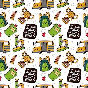 Kawaii bonito padrão sem emenda de volta à escola no estilo doodle.