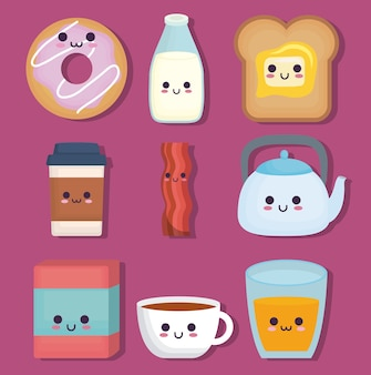 Kawaii breakfast food related icons
