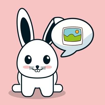 Kawaii bunny bubble speech image
