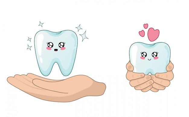 Kawaii cartoon dente e peaple mãos - atendimento odontológico e proteção