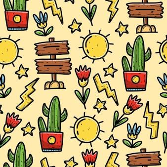 Kawaii cartoon doodle papel de parede de design padrão sem emenda