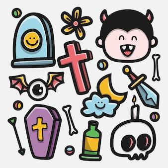 Kawaii cartoon halloween doodle ilustração.