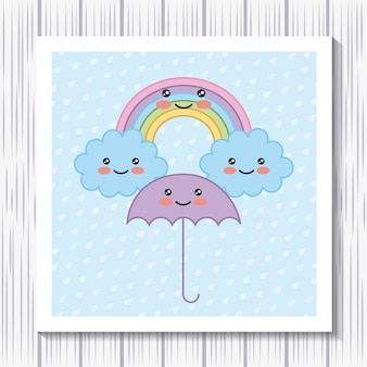 Kawaii cartoon rainbow umbrella clouds fundo de pontos