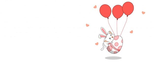 Kawaii coelho gato está voando ovo na primavera