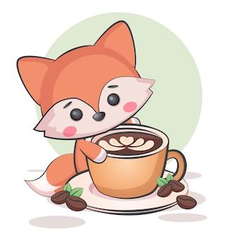 Kawaii coffee fox