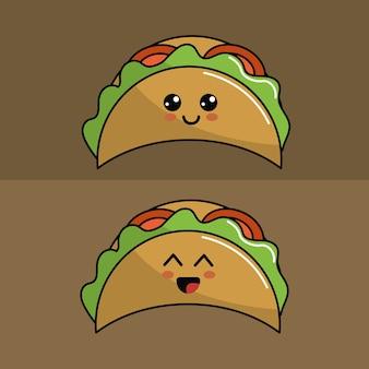 Kawaii conjunto tacos ícone com belas expressões