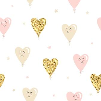 Kawaii coração balões sem costura padrão. glitter dourado, rosa pastel e bege.