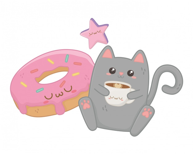 Kawaii de desenho animado de gato